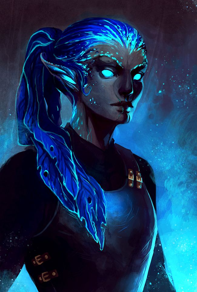 """their eyes seem to shine, their skin seems to sparkle, and their hair seems to be made of strands of color in the wind.""  Ok, this is actually fan art for the Sylvari from Guild Wars 2, labeled ""Mudora of the Night by Mudora""."