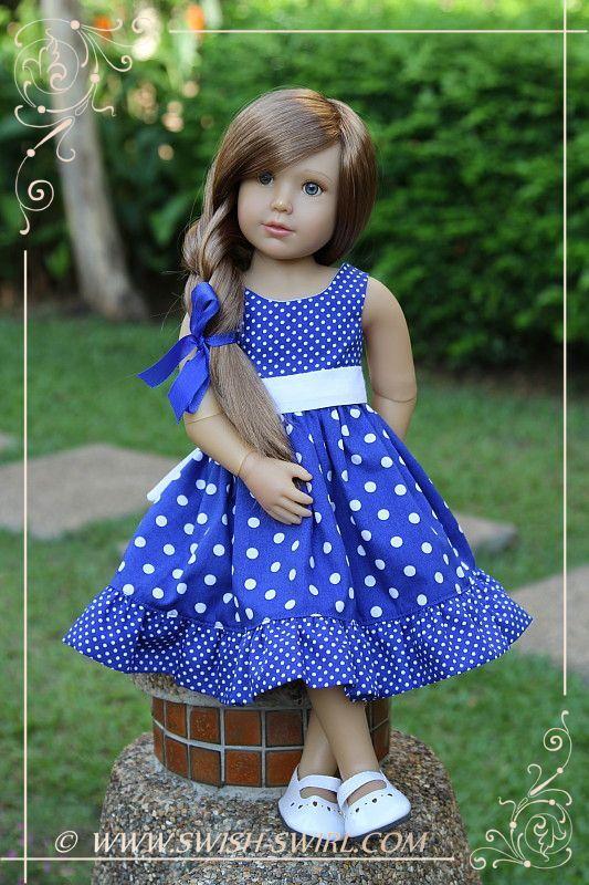 Blue polka dot dress for Kidz'n'Cats dolls by Swish  Swirl