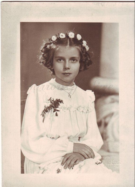 Vintage Photo  Girl Portrait  First Communion  Vintage