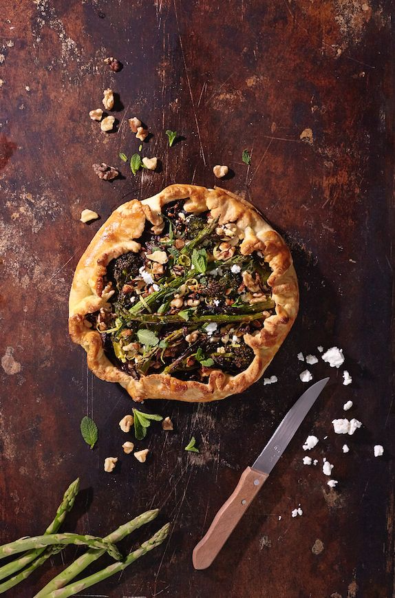 Asparagus and feta pie styled by Olivia Gartley bossmodelmanagement.co.uk