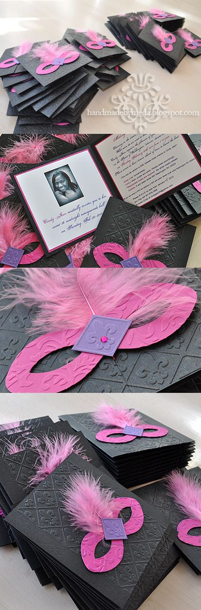 black, purple, and pink masquerade invitations with feathers and rhinestones