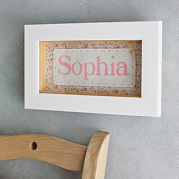 Personalised Fabric Framed Baby Name
