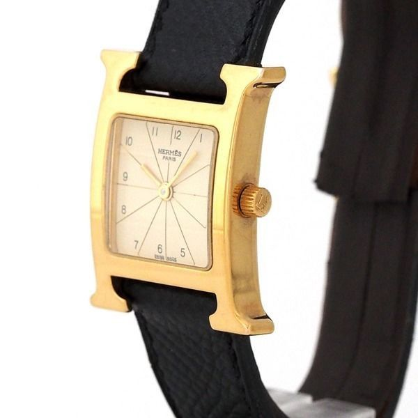 HERMES. PARIS. HERMES H-watch GOLDplated Women's Quartz with Hermes Band. ONLINE SPECIAL!