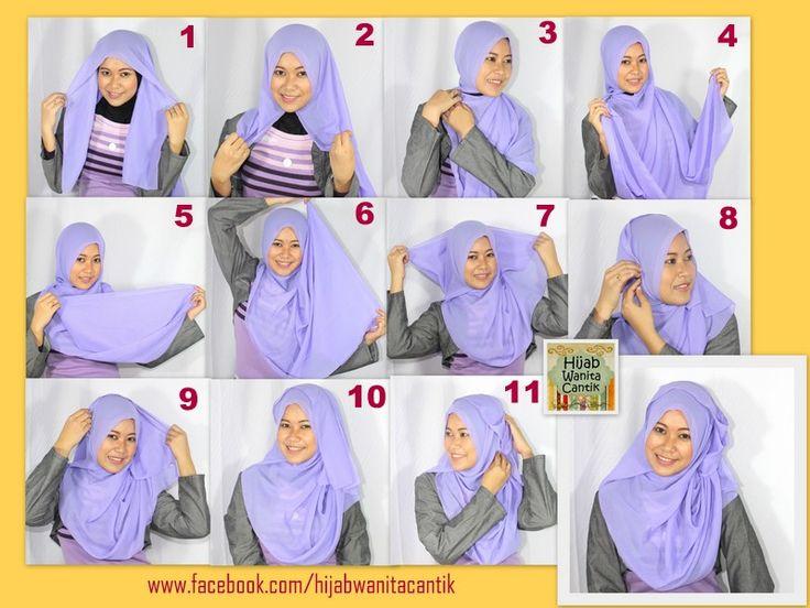 Hijab Tutorial wearing Chiffon Square ( Segiempat Sifon)