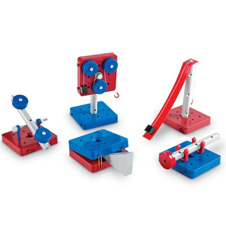 KIT:Simply build the foundations of effort, work and force. Create 5 simple machines: pulley, wheel and axle, inclined plane, lever, wedge.""