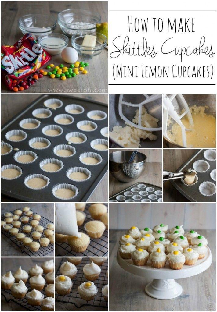 How-to-make-skittles-cupcakes-mini-lemon-cupcakes