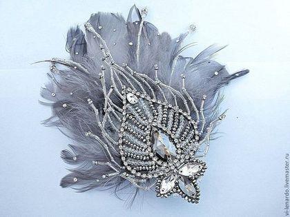 """Купить Заколка """"Перо снежной птицы"""" - серебряный, заколка с перьями, украшение для прически, свадебная заколка"""