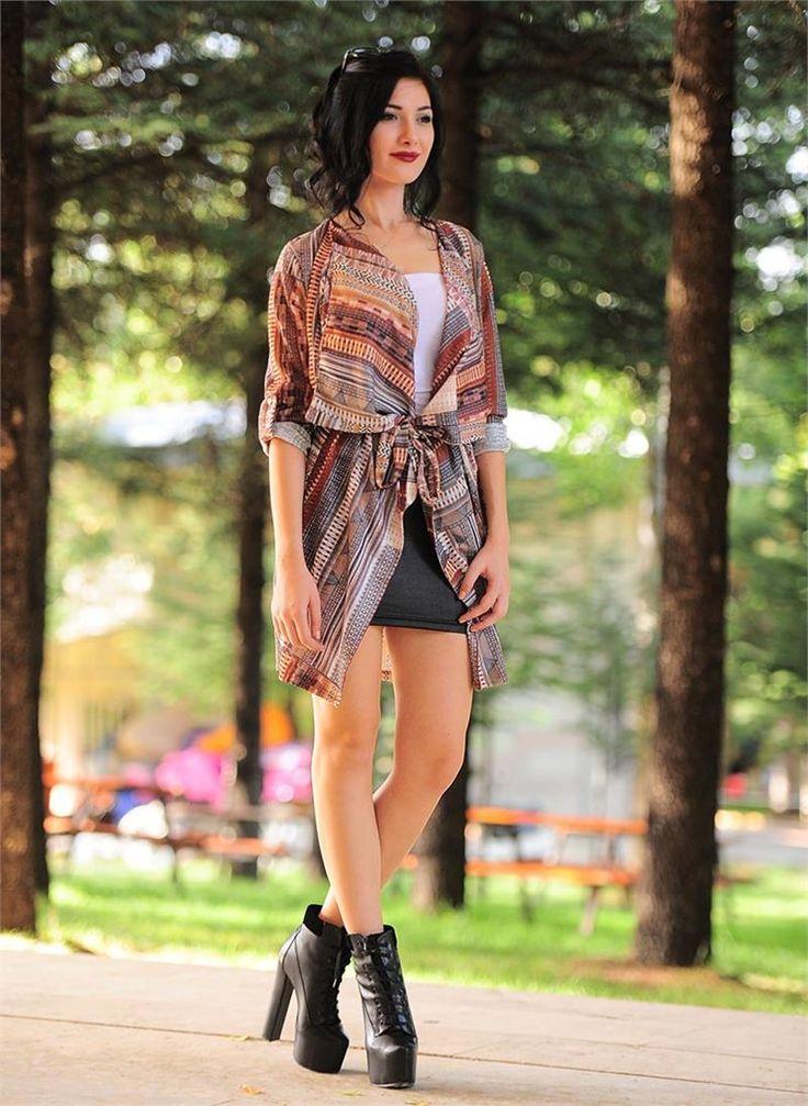 Bayan Hırka Renkli Desenli Kuşaklı | Modelleri ve Uygun Fiyat Avantajıyla | Modabenle