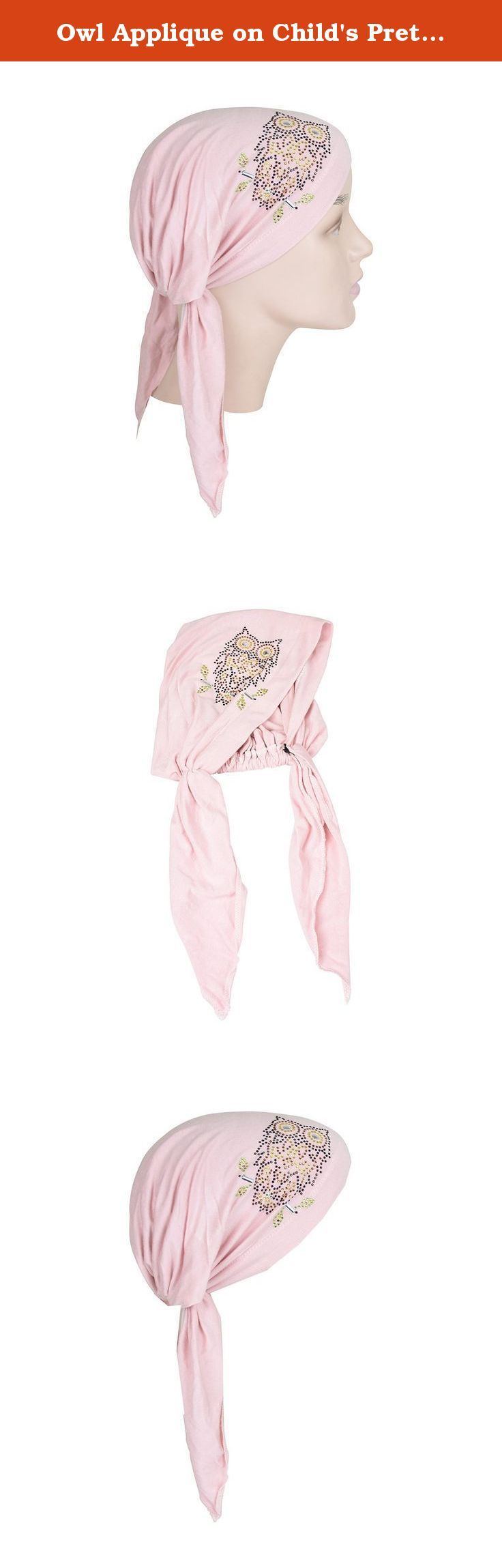 owl applique on childs pretied head scarf cancer cap light pink this is a