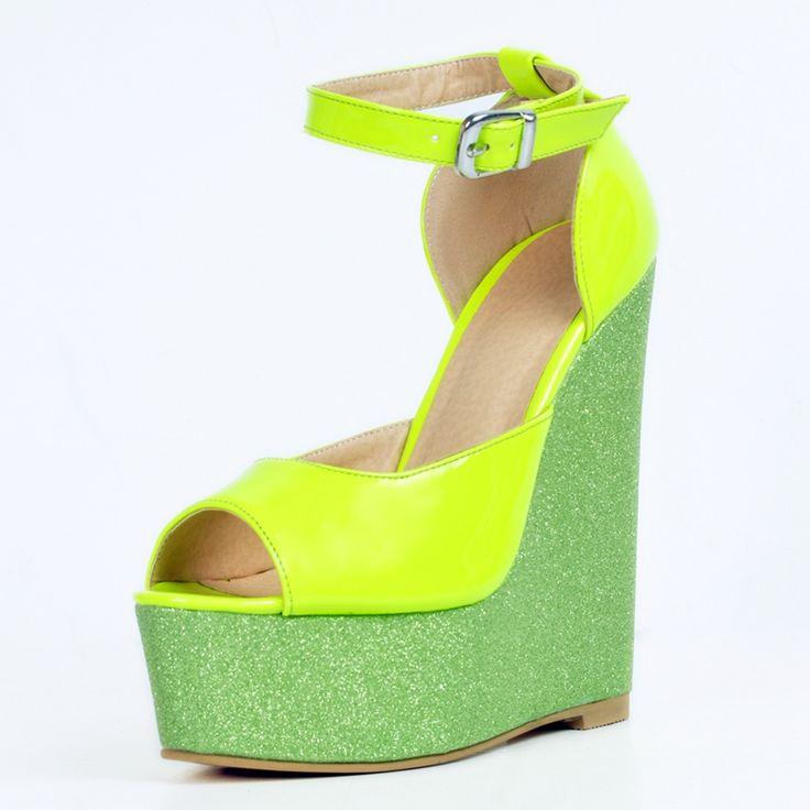 Fluorescent Green Wedge Heels Women Sandals Ankle Straps Open Toe Platform Summer Shoes Plus Size Women Wedding Party