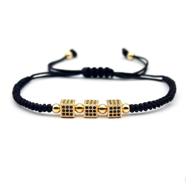 3X Dice Braided Macrame Bracelet - Elegant Sequence