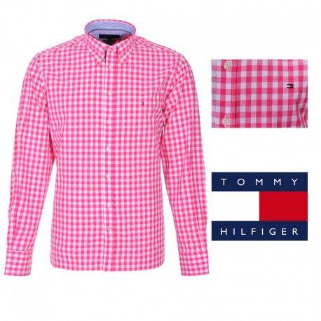 Camisa de cuadros para hombre de Tommy  Hilfiger en color rosa y blanco.  Tipo: manga larga. Ajuste: Custom Fit. Composición : 100% Algodón. Entrega en 24/48 horas. #camisas #moda #tommy #tommyhilfiger #tiendaonline #descuentos #promociones