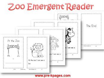 Printable Zoo Emergent Reader for pre-k and kindergarten