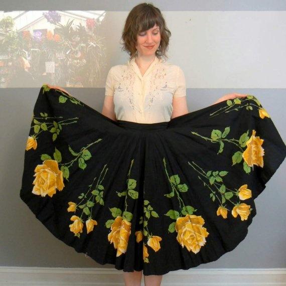 1950's yellow rose of Texas circle skirt