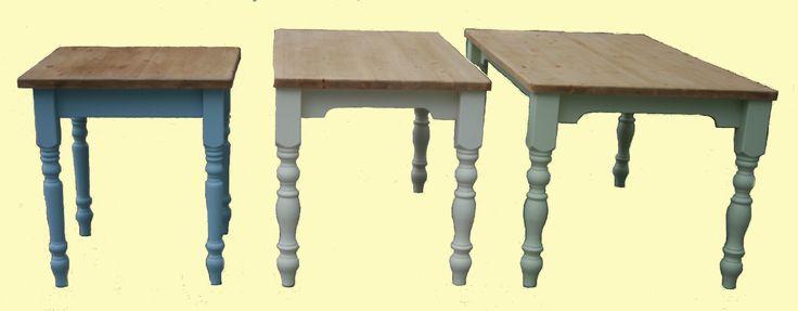 Pine farmhouse tables with painted legs and skirt: www.pinefarmhousetable.co.uk