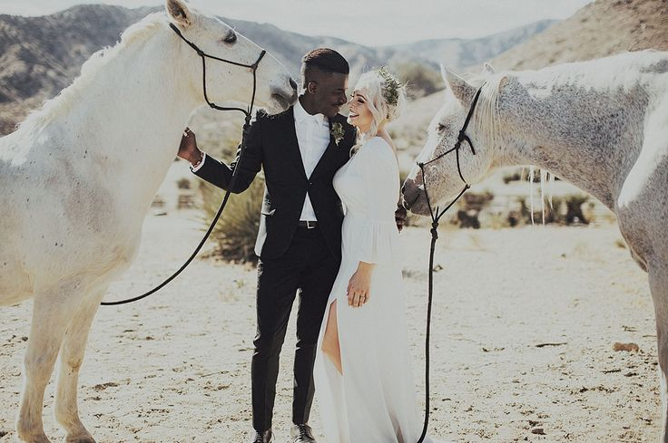 Modern + Mexican-inspired wedding in Joshua Tree with horses