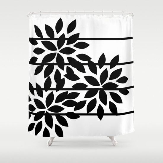Floral Shower Curtain Striped Black White Abstract Art Bathroom Accessories Home Decor Modern