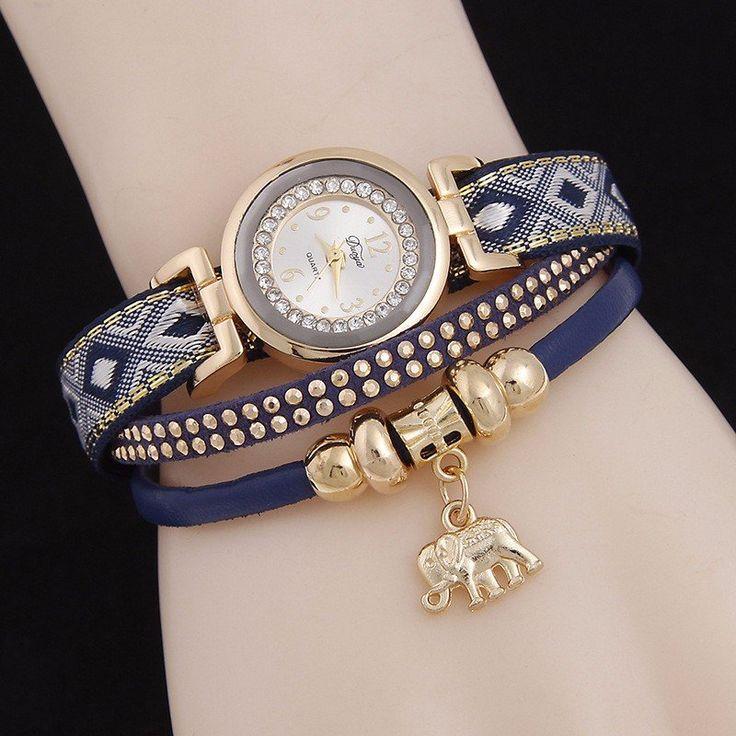 Leather Rivets Elephant Pendant Watch  #women #men #fashion #jewelry #watches