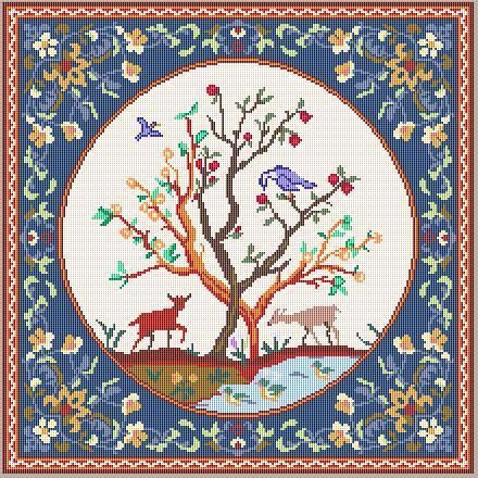 DOLLHOUSE MINIATURE AREA RUG NEEDLEPOINT PATTERN IN 1/12TH SCALE  THE PATTERN IS DESIGNED TO STITCH ON 40 COUNT silk gauze with DMC  40 count, DMC,