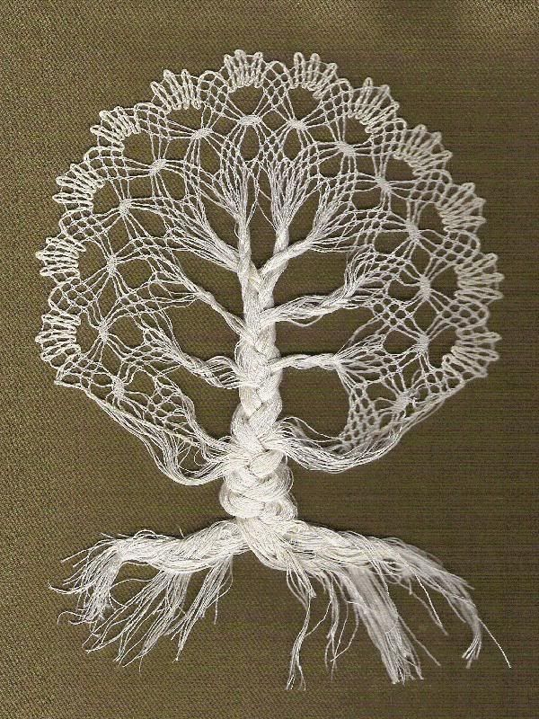 Bobbin Lace - tree - at one point I knew how to make bobbin lace! You weave around a pattern of pins with bobbins ,on a special pillow