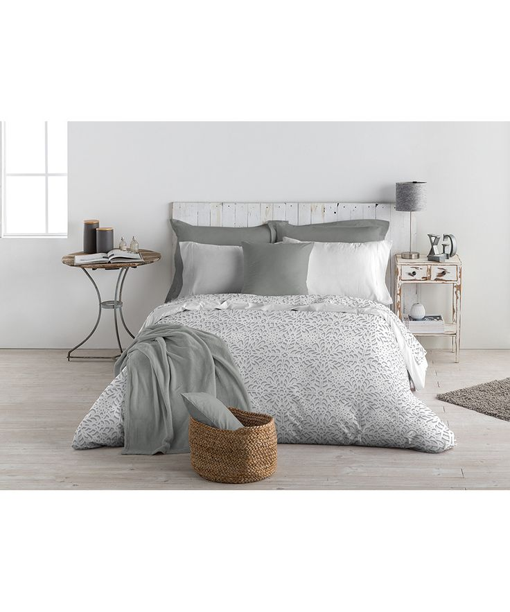 Papirus grey cotton single duvet set Sale - Montesinos