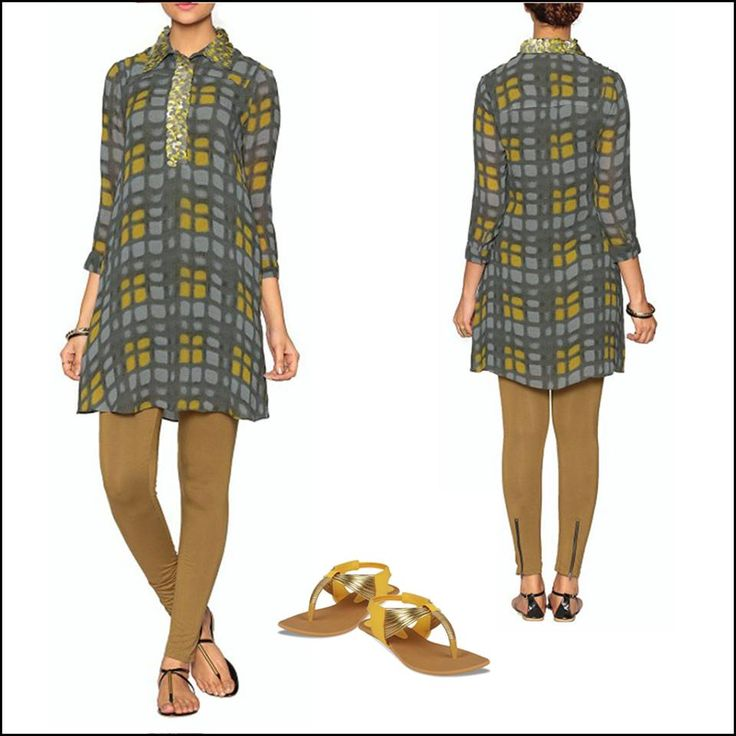 Label's checkered crepe long shirt is a must-have for your work wardrobe!   Team your look with simple yellow and golden flats.   Shop now:http://www.labelritukumar.com/short-top/a-collar-neck-shirt-in-viscose-crepe.html#.VBEgk8KSyGM/?UTM=facebooklabel
