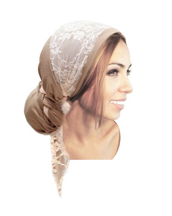 Headcovering Taupe Head Scarf Champagne Pink Lace Tichel Snoods Head-Wrap Tichel Turban ShariRose Handmade - 021