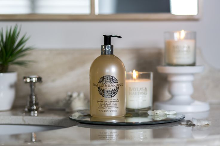 The perfect bathroom set up - a Jojoba, Silk & Almond Oil Cream Hand Wash paired with a Jojoba, Silk & Almond Oil luxury candle