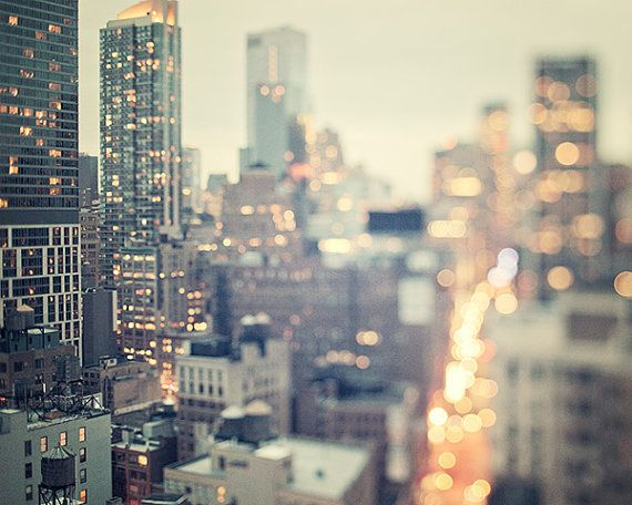 New York Skyline at Twilight, NYC Photography, Manhattan, Pastel Urban Wall Decor, Traffic Lights, NYC Art Print - Night Glitter