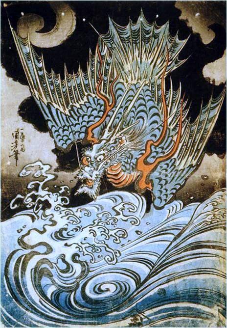歌川国芳の浮世絵(テーマ別) - Togetterまとめ 中国ではこのような翼のある龍を応龍と言いました。画面全体を彩る青は、調査により舶来の顔料であるベロと判明