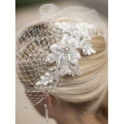 Crystal Ivory Lace Applique Wedding Veil with French Net Birdcage Blusher