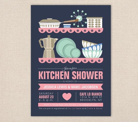 Mid Century Modern Kitchen Shower Invitation by FromLUCYwithLOVEwed