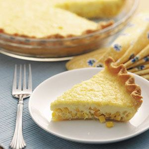 Golden Corn Quiche Recipe -I serve cut-up fresh fruit with this comforting quiche, which my vegetarian son really enjoys. You could also pair it with a slice or two of ham. Try it for brunch or dinner. —Donna Gonda North Canton, Ohio