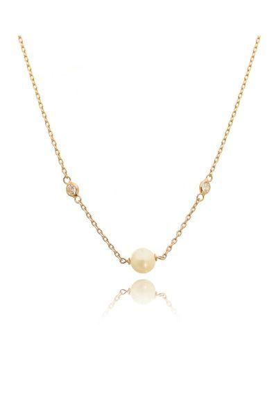 Colar-delicado-de-perola-e-duas-zirconias-corrente-Cartier-ouro-rose    Colares Semi joias   Pinterest   Pearls 754bdefb8a