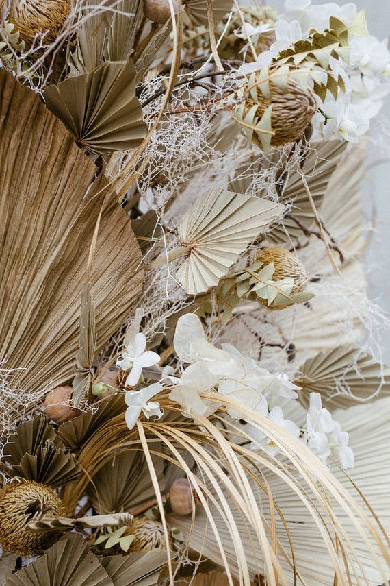Modern French Tropical Wedding Ideas With Dried Flowers Dried