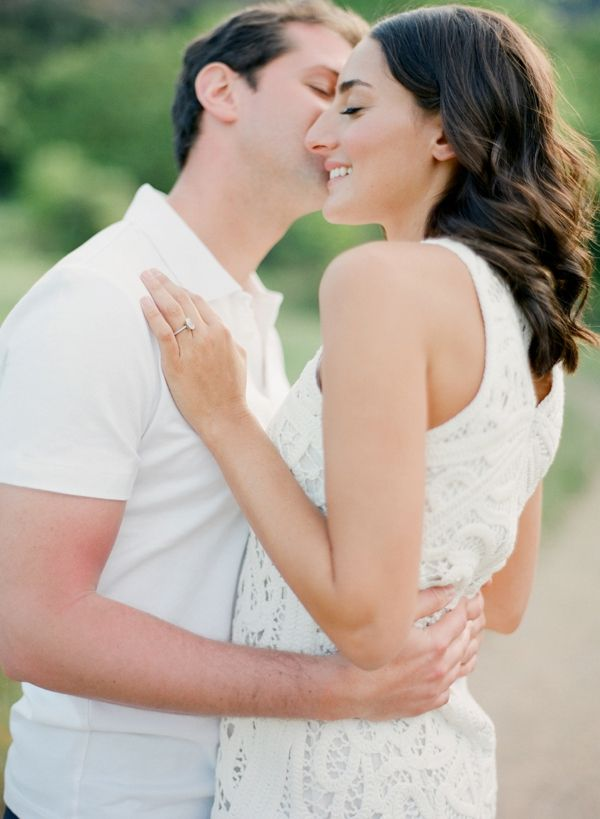 Romantic pose for an outdoor engagement shoot #engagement #wedding  http://www.roughluxejewelry.com/