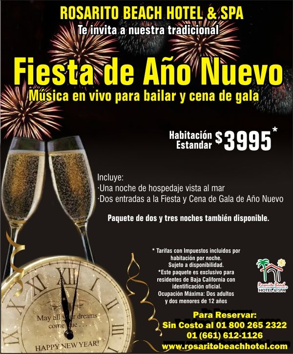 Hotel Rosarito te espera con su maravillosa oferta para festejar este año nuevo. 🎊🎉🎈 Festeja la bienvenida de este 2018 con tu familia y amigos de una manera inolvidable.