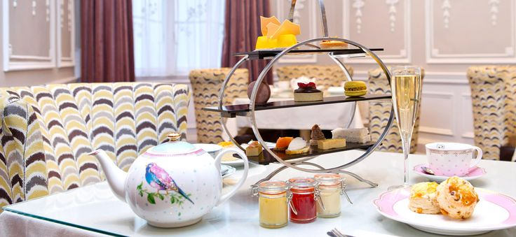 Pretty dishes, love the jam jars. Afternoon tea at St. Ermin's Hotel London.