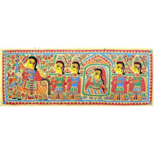 COLORED BARAAT AND BRIDE. http://www.indiancraftsmen.com/art-c4ca4238a0b923820dcc509a6f75849b/madhubani/colored-baraat-and-bride