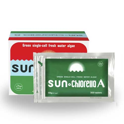 SUN CHLORELLA: 1. Merangsang peremajaan sel 2. Membantu pembuangan racun kimia dan logam berat 3. Merangsang pertumbuhan bakteri menguntungkan 4. Meningkatkan system kekebalan tubuh/imunitas 5. Membantu penyembuhan luka