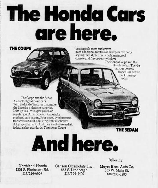 Honda Dealers Ad 1971 Honda Ads Honda Sedan