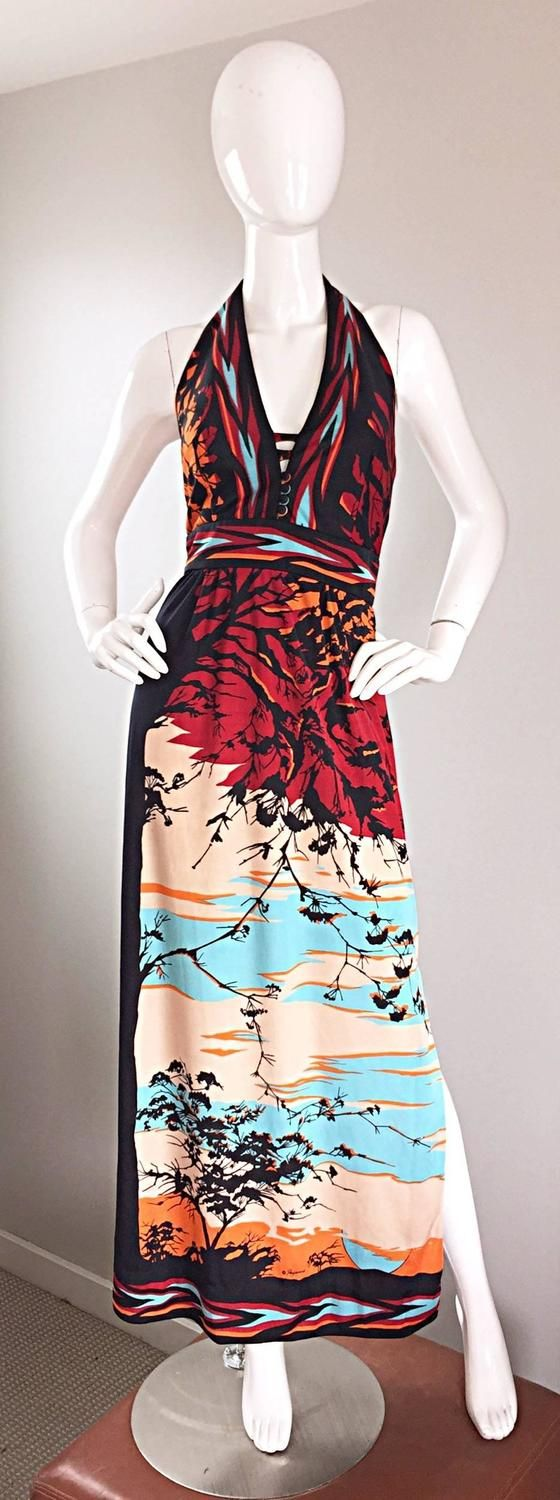 Vintage Paganne Gene Berk Signed Asian Themed 1970s Novelty Halter Maxi Dress 2