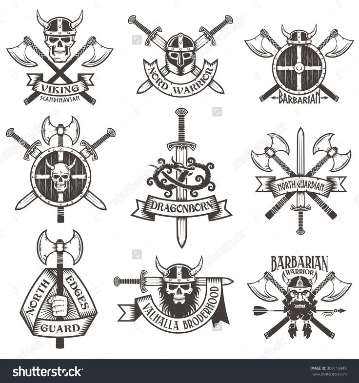 Viking Logo Set. Skull In Horned Helmet, Skull With Beard, Head Viking, Crossed Axes, Crossed Swords, Viking Helmet, Shield, Hand With Ax, Dragon. Logos Can Be Easily Disassembled Into Separate Items. Стоковая векторная иллюстрация 308116949 : Shutterstock