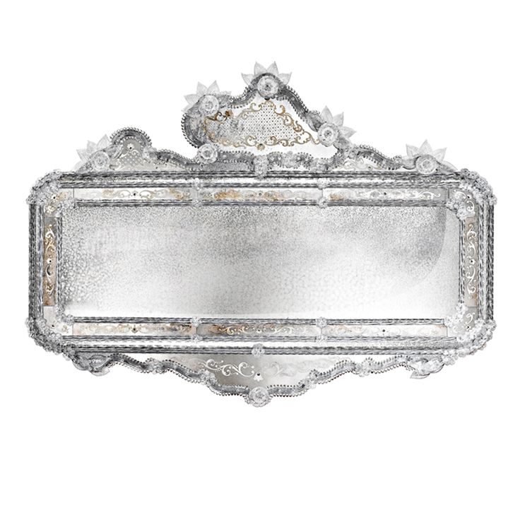 0175 Horizontal engraved mirror in Venetian style with #Murano glass curls and flowers in crystal colour. Structure in natural wood.
