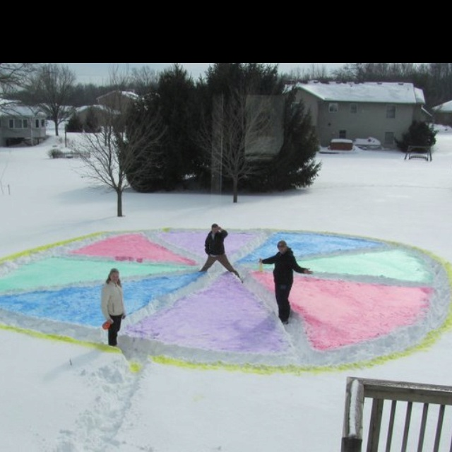 Snow Pie Tag    Liquid tempra paint diluted with warm water in a spray bottle.    WINTER PIE  Winter Pie is a modified version of tag that can be played in the snow. Without your children nearby, head into the snow and stomp a large circle with your feet. The circle should be at least 10 feet in diameter. Then stomp lines from the outside of the circle into the center of the circle, as if y...