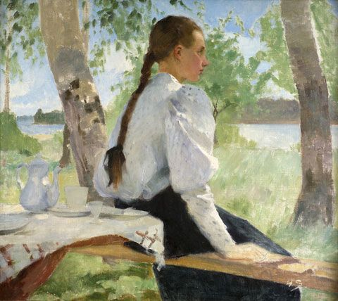 HELENE SCHJERFBECK Young Girl Under the Birch Trees (1891)