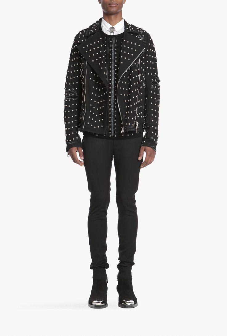 Studded cotton Biker jacket | Mens lightweight jackets | Balmain