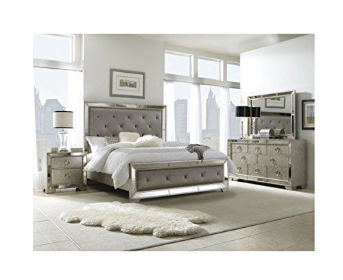 Luxurious 5 piece mirrored upholstered tufted king for Assembled bedroom furniture