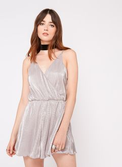 Silver Plisse Playsuit