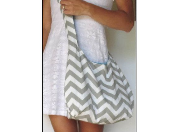 Cross Body Hobo Bag. Chevron Purse. OR Shoulder Bag. Small Purse. Gray and White Zig Zag Stripes. Reversible Fabric Purse. Spring Line.